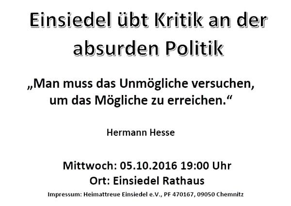 Flyer / Aushang Demo Einsiedel 05.10.16