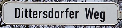 Straßenschild Dittersdorfer Weg Einsiedel
