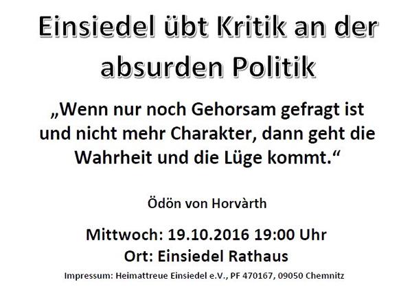 Flyer Demo Einsiedel 19.10.16