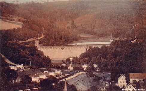 Talsperre Einsiedel mit Filteranlagen um 1915