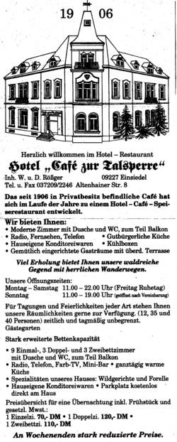 Hotel Café zur Talsperre Annonce um 1995