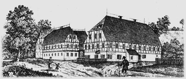 Lehngericht Einsiedel Holzschnitt um 1840