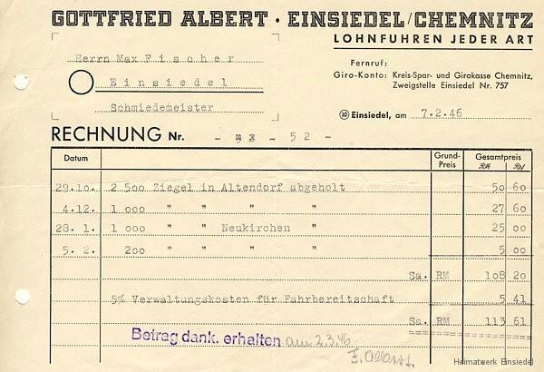 Rechnung Gottfried Albert 1946