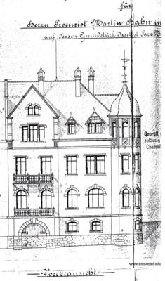Bauzeichnung 1902 West- bzw. Frontseite