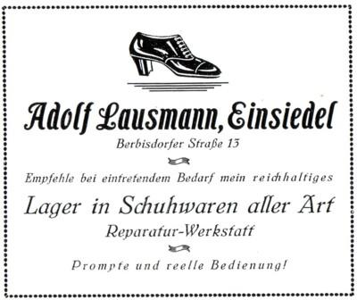 Annonce Schuhwaren Adolf Lausmann 1926 (Lausmann-Schuster)