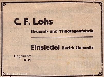 C.F. Lohs Werbeanzeige 1935