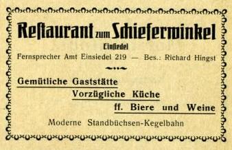 Adressbuchwerbung Schieferwinkel 1926/27.