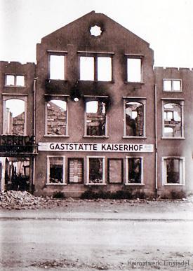 """Ruine des Gasthofs """"Kaiserhof"""" in Einsiedel 1945"""
