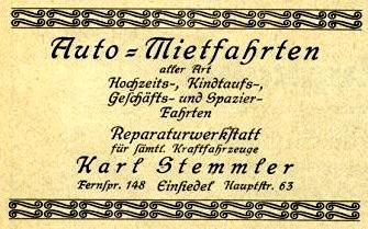 Auto-Mietfahrten Annonce 1926