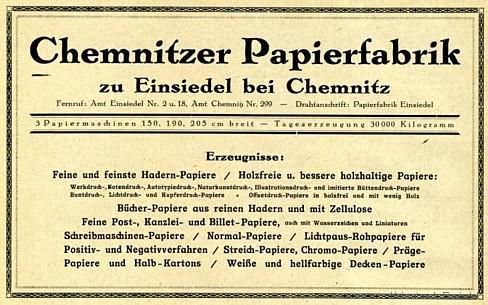 Einsiedler Papierfabrik, Werbeanzeige 1926