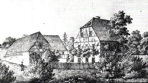 Pfarrgut Einsiedel, Holzstich um 1840