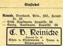 Reinike im Einsiedler Adressbuch 1926/27