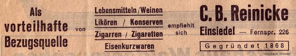 Reinicke Werbung 1936