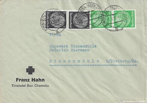 Briefumschlag Frank Hahn 1937 vorne