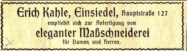 Maßschneiderei Ernst Kahle, Einsiedel