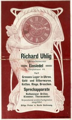 Jugendstil-Reklame Richard Uhlig, Einsiedel