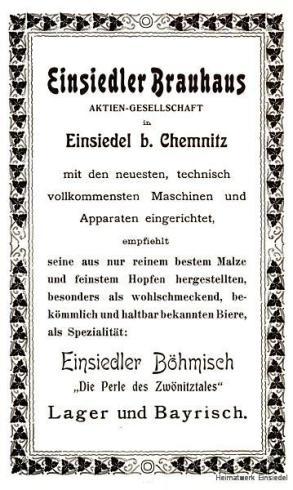 Reklameanzeige Einsiedler Brauhaus AG 1905