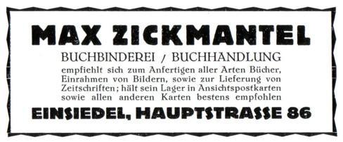 Reklameanzeigen Buchhandel und Schreibwaren Max Zickmantel Einsiedel