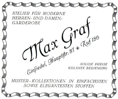 Reklame Schneidermeister Max Graf, Einsiedel 1926