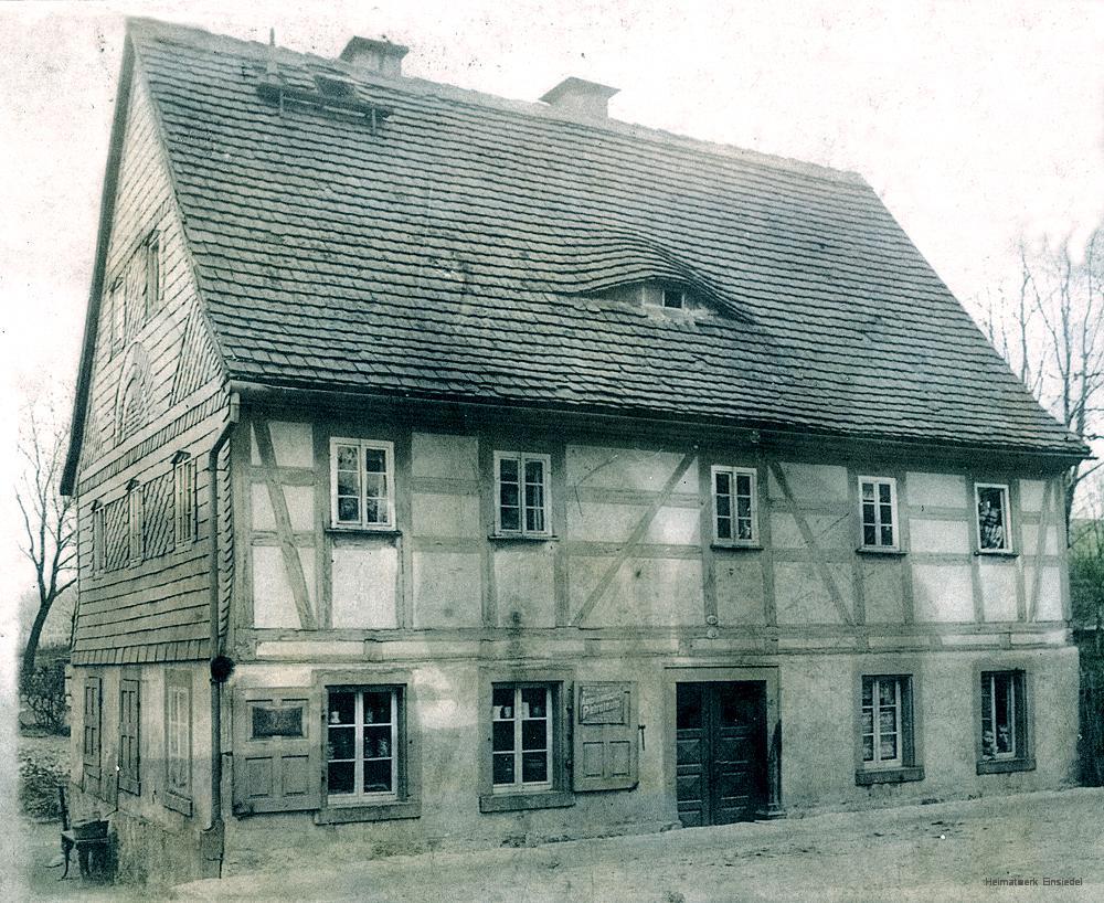 Das Roscher-Häusel mit Materialwarenhandlung vor 1918