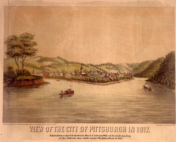 """""""View of the City of Pittsburgh in 1817,"""" by Emma Gibson"""