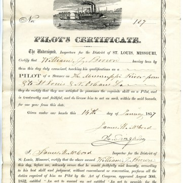 Steamboat pilot's certificate of William Y. Brown, 1857