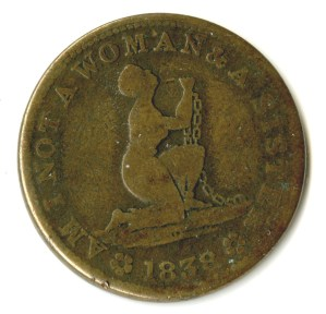 """ALT:""""Am I Not a Woman and a Sister"""" anti-slavery token"""