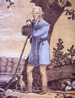 """James Otto Lewis, """"Portrait of Daniel Boone"""" after a painting by Chester Harding, c. 1820."""
