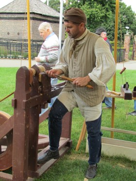 Wood work during the Fort Pitt Museum's Living History program.