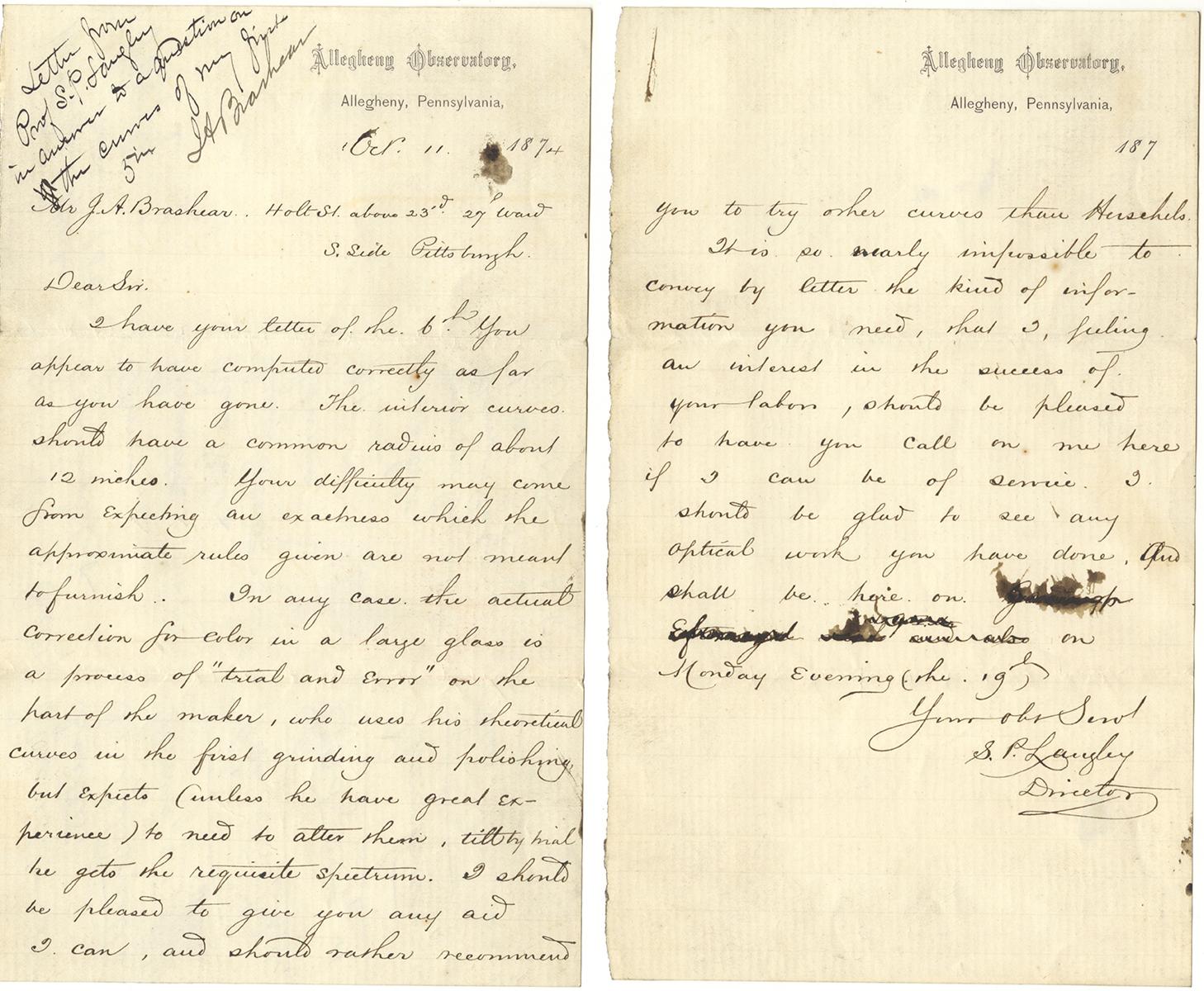 Letter dated October 11, 1874, from Samuel P. Langley to John Brashear, Heinz History Center.