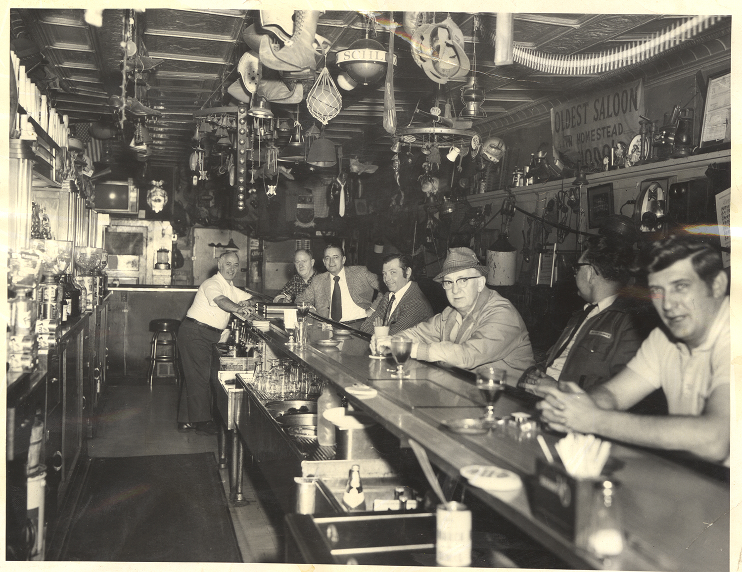 Faces along the bar at Chiodo's Tavern, c. 1970. Chiodo's Tavern Collection, 2005.173, Detre Library & Archives, Heinz History Center.