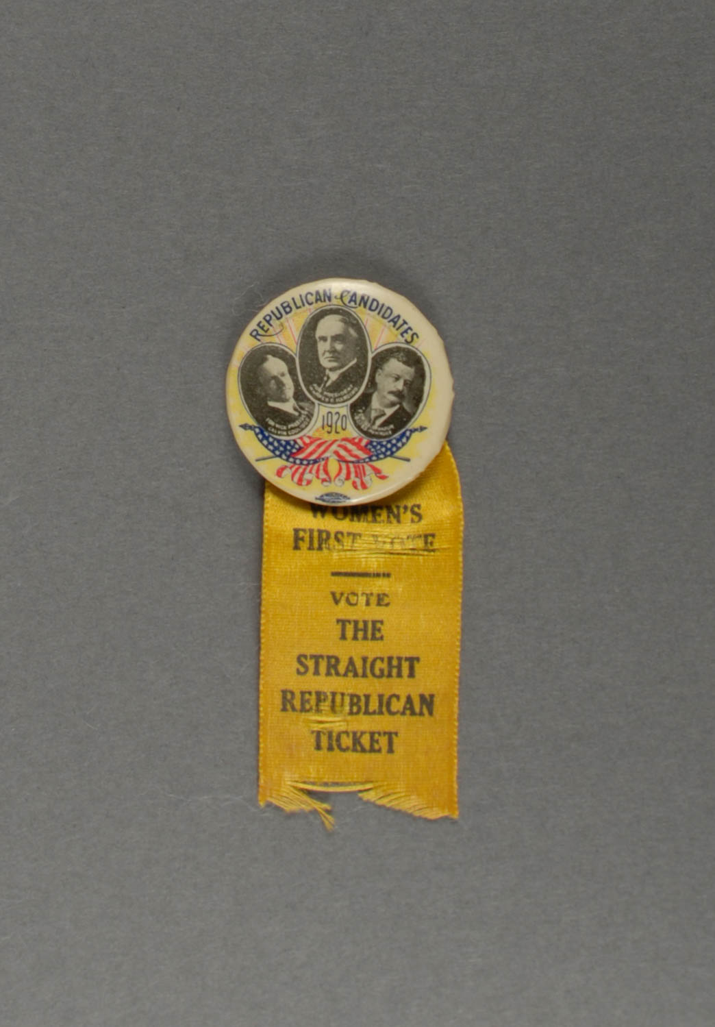 2015.22.720 - Badge from the first Presidential election that all U.S. women were able to vote in. Krasik Collection of Pennsylvania and Presidential Political Memorabilia, Heinz History Center.