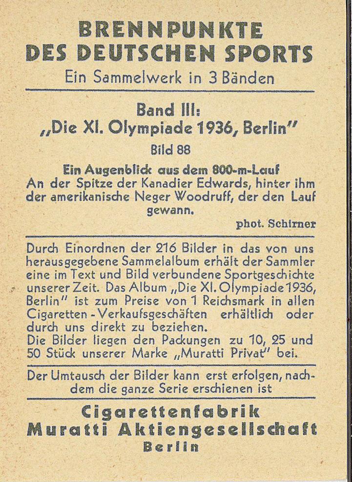 Back of the 1936 Muratti Brennpunkte des Deutschen Sports trading card.