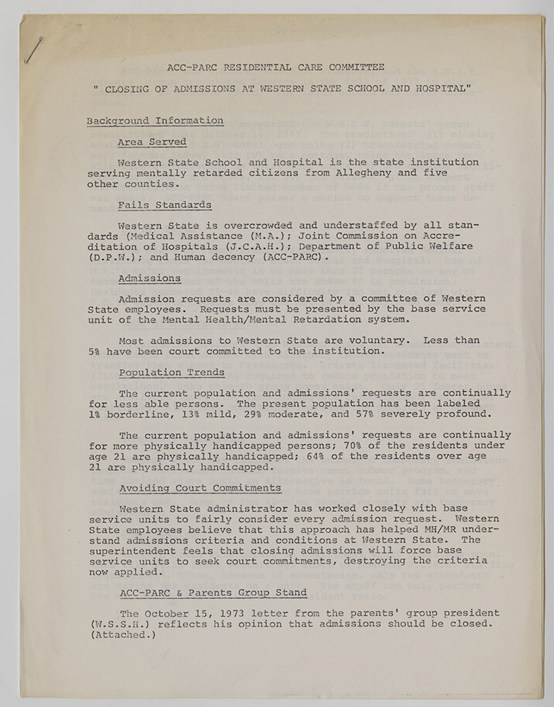 """1_MSS_1002_B03_I01: """"Closing of Admissions at Western State School and Hospital"""" drafted by Residential Care Committee of ACC-PARC in c. 1974. 