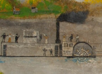Detail of the New Orleans' passengers. Folk painting of the steamboat New Orleans, c. 1800s. Senator John Heinz History Center Museum Collection.