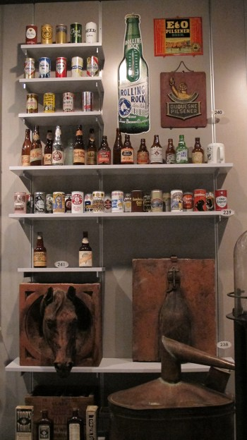 A selection of the History Center's beer artifacts on display in the Special Collections exhibit. | Heinz History Center