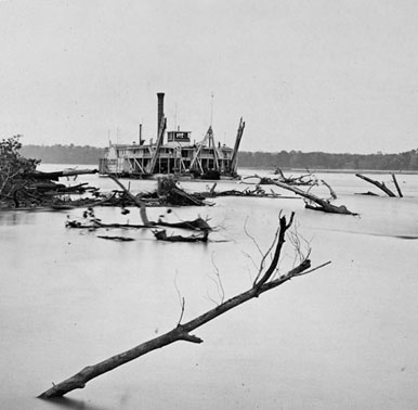 Clearing river snags, c. late 1800s. Credit: U. S. Army Corps of Engineers.