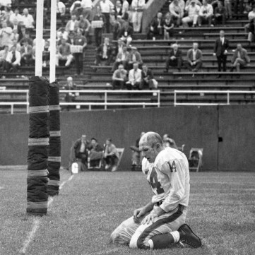 Y.A. Tittle after a sack by Steelers' John Baker, by Morris Berman, September 20, 1964 | Eyes of Pittsburgh | Exhibits | Heinz History Center