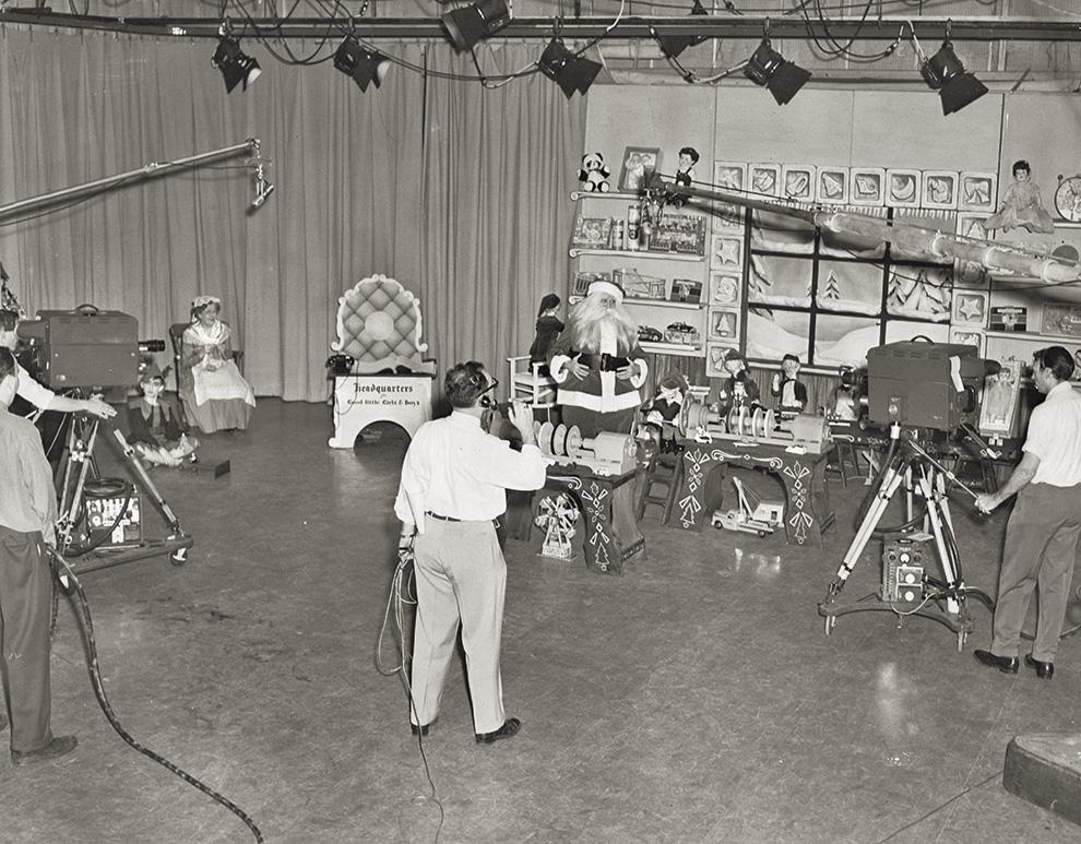 Heid as Santa in a TV studio, 1950. Photo courtesy of Jim Heid.