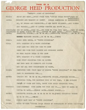 """The recordings for department store windows used scripts like this one, """"Santa's Dream of Christmas,"""" used at Rosenbaum's in 1945. Photo courtesy of Jim Heid."""