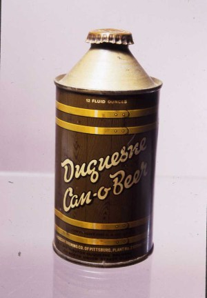 Duquesne Brewing Company Can-O-Beer, probably 1940s or 1950s.   Heinz History Center