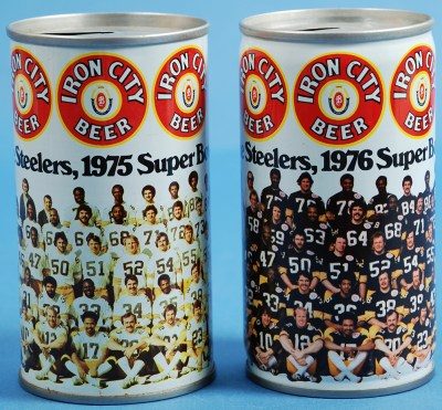 Iron City Brewing Company Steelers Team Cans, 1975 and 1976.   Heinz History Center
