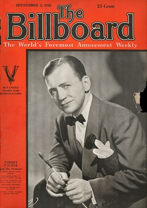 Tommy Tucker made the cover of Billboard magazine numerous times, this one from 1942. At Kennywood, he holds the record for the largest crowd to see a musician when he played there on Decoration Day, 1936. From Billboard.