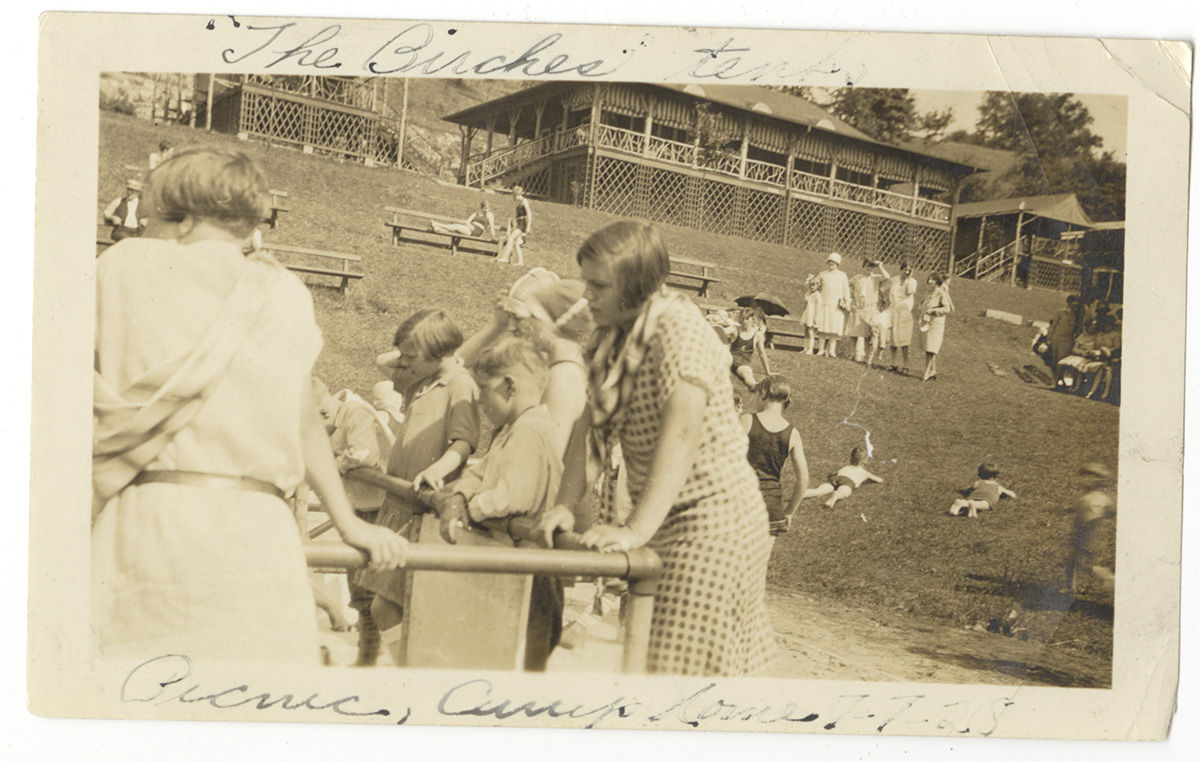 Children and adults gather to play and sunbathe in the large, central open area of Camp Horne, 1928. Camp Horne and Horne's Building Photographs, 1996.0077, Detre Library & Archives at the History Center.