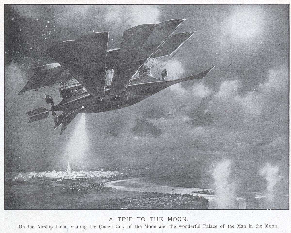 "An illustration of the journey offered by the ride, ""A Trip to the Moon,"" 1901."