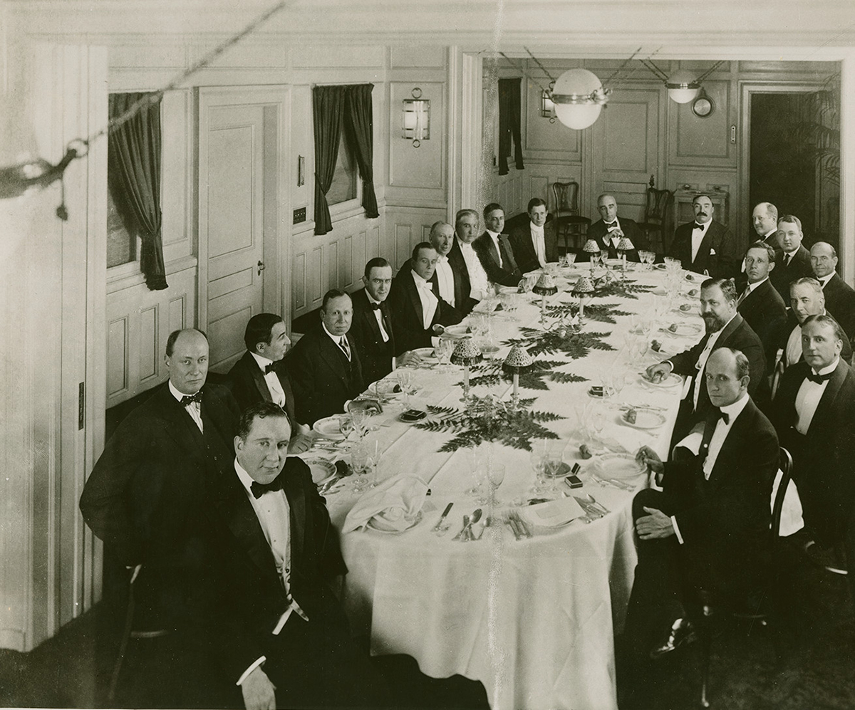 Lewis J. Selznick (front, center) at the World Film Pictures dinner, Astor Hotel, New York City, 1914. Courtesy of the Harry Ransom Center, University of Texas at Austin, David O. Selznick Collection.