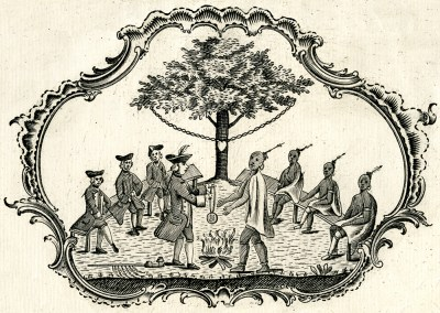 """Detail of a certificate distributed by Sir William Johnson c. 1770, showing a treaty negotiation. The symbolic """"Chain of Friendship"""" is shown in the background."""