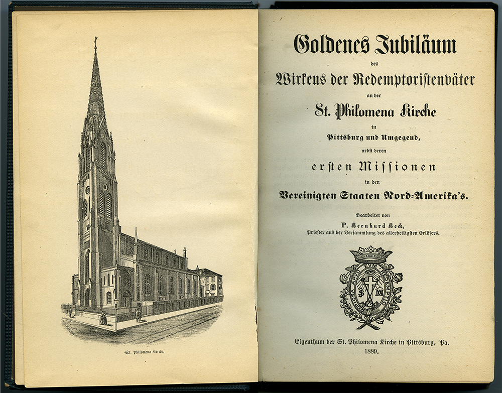 The original St. Philomena Church in the Strip District was the first ethnic German congregation in Pittsburgh, established in 1839. Golden Jubilee celebration of the second church building, 1899, Detre Library & Archives at the History Center.