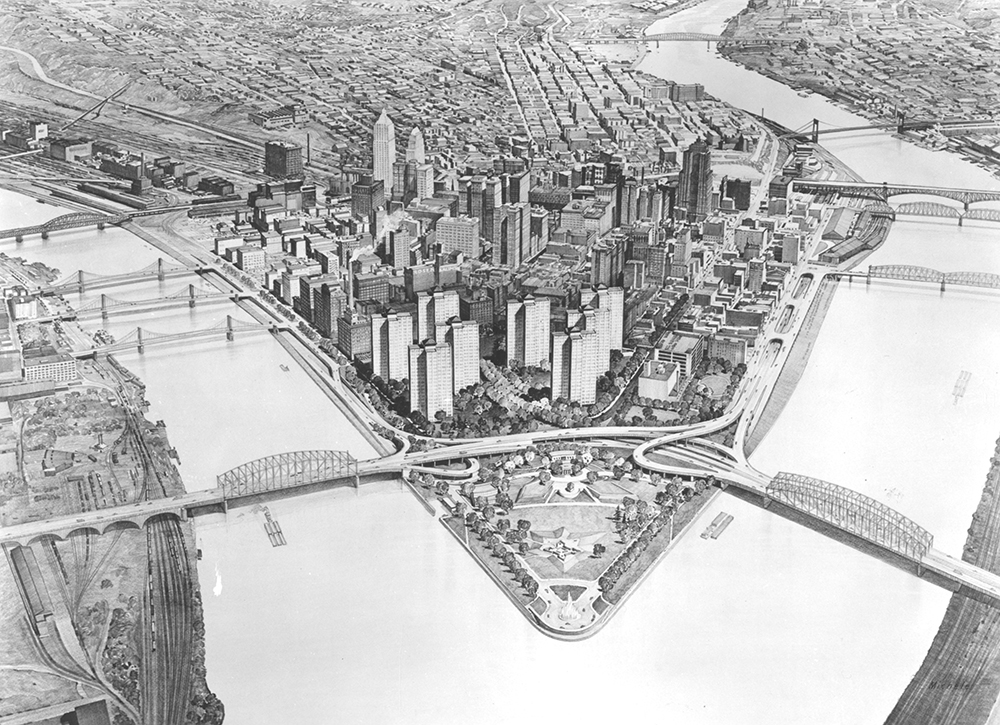 Golden Triangle Concept, 1949. Allegheny Conference on Community Development Photographs, MSP 285, Detre Library & Archives at the History Center.