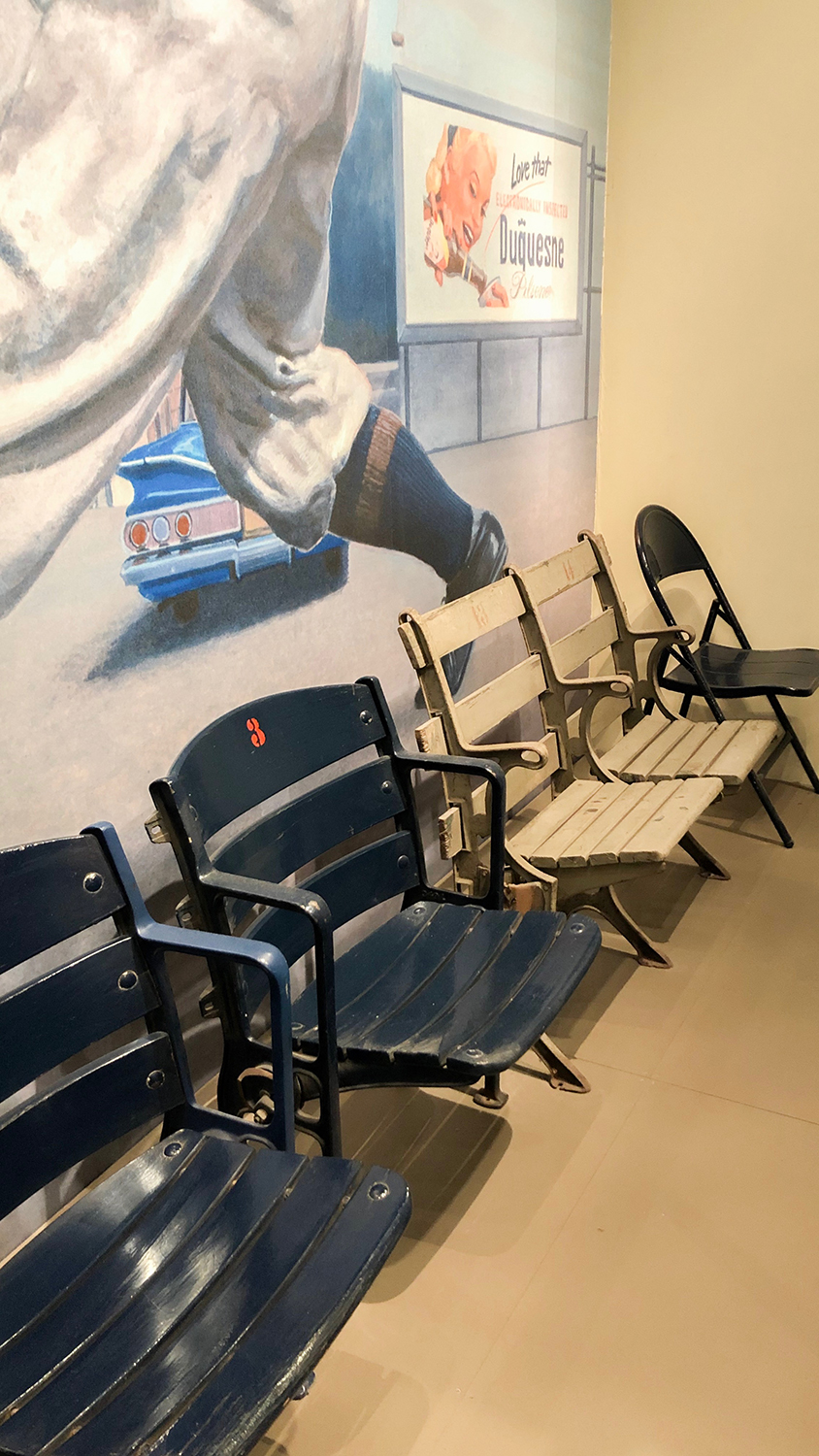 Stadium seats from Forbes Field, on display in the Western Pennsylvania Sports Museum.